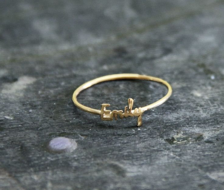 Initial name ring Handwriting font 18K gold plated