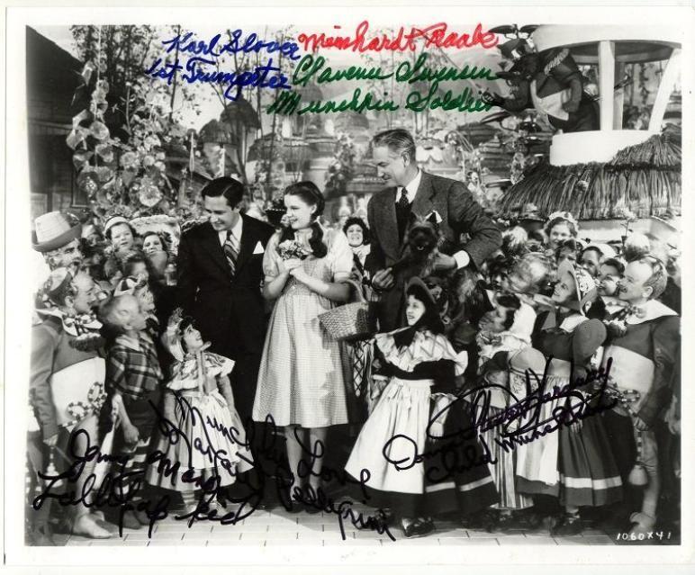 Munchkins signed print of Wizard of Oz with Mervyn Leroy & Judy Garland.