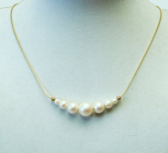 Lustrous White Pearl Necklace Swarovski Crystal by lilicharms