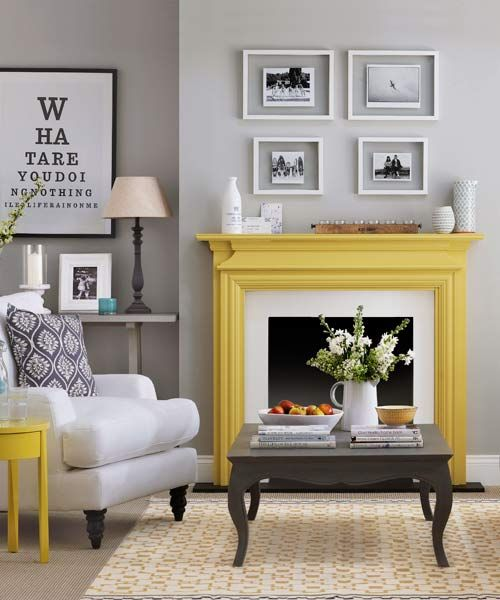 Yellow Painted Mantel In Gray And White Living Area Paint Ideas For Mantels Living Room Grey Grey And Yellow Living Room Yellow Living Room