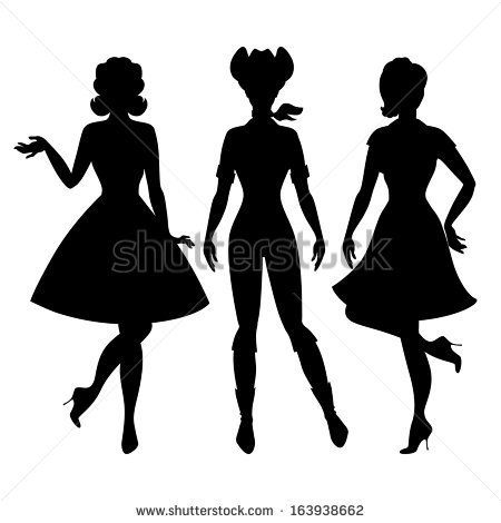 caricatures of 1960s women silhouettes of beautiful pin up girls 1950s style stock