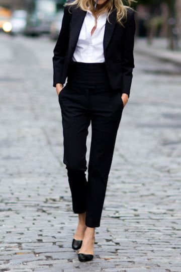Classic Fashion Style in Black and White - little black pant suit