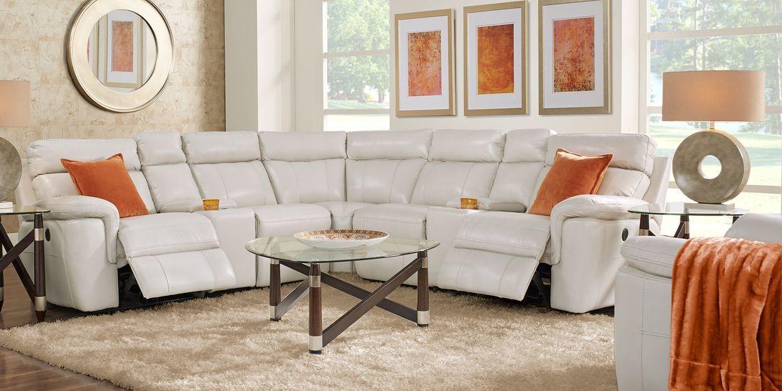 Trafalgar Square Ivory Leather 7 Pc Reclining Sectional Living Room Leather Leather Living Room Set Living Room Sets Furniture #rooms #to #go #leather #living #room #set