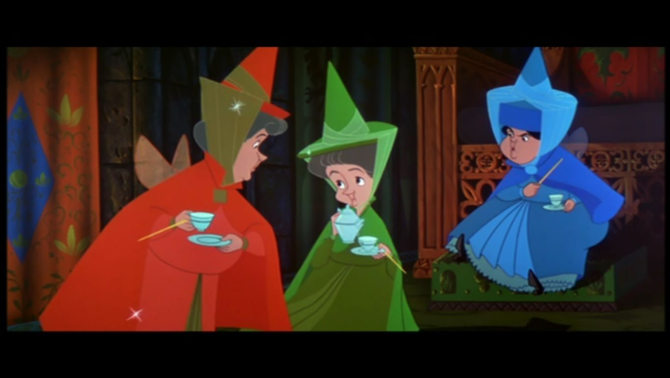 Flora Fauna Merryweather Drinking Tea And Plotting To Save