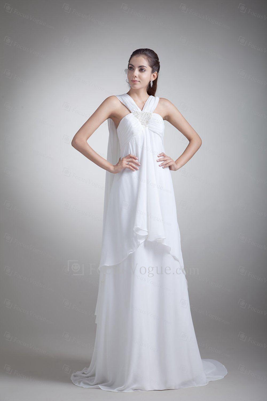US $308.00 | Chiffon stropper feje tog kolonne broderede brudekjole
