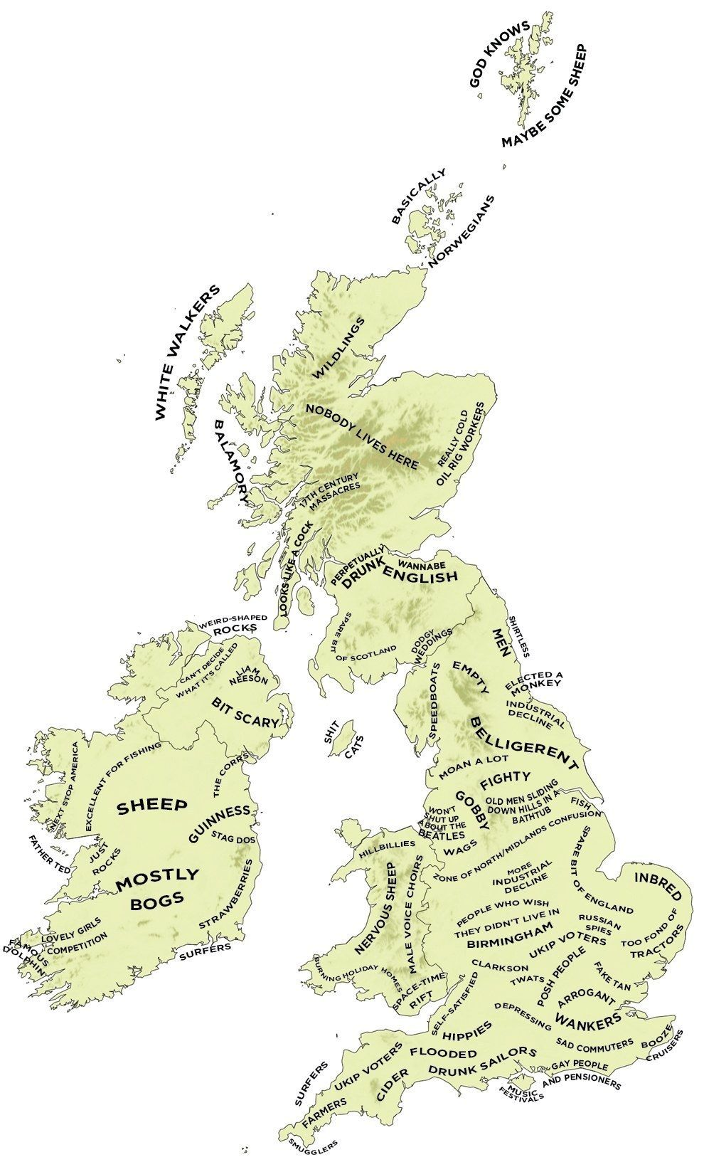 Map Of Uk Ireland.The Definitive Stereotype Map Of The Uk And Ireland Erin Go Bragh