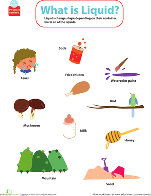 Printables Science Worksheets For First Grade matter mixup whats a liquid physical science first grade and worksheets liquid