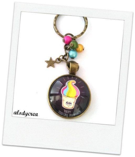 Porte clés bijou de sac licorne  Tasty Unicorn Poop  par alodycrea  planner unicorn - keyring unicorn - keychain unicorn - unicorn poop