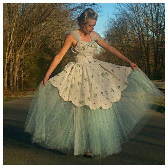 Vintage Blue Party Dress Lace Parasol Ball Gown Prom