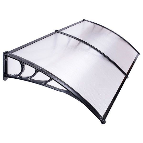 Thediyoutlet 6 5ft Awning Patio Cover Rain Protection Window Clear Black Patio Awning Window Awnings Door Awnings
