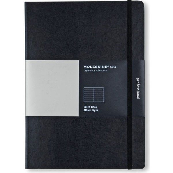 MOLESKINE A4 folio ruled notebook (450 ZAR) ❤ liked on Polyvore featuring home, home decor, stationery and black