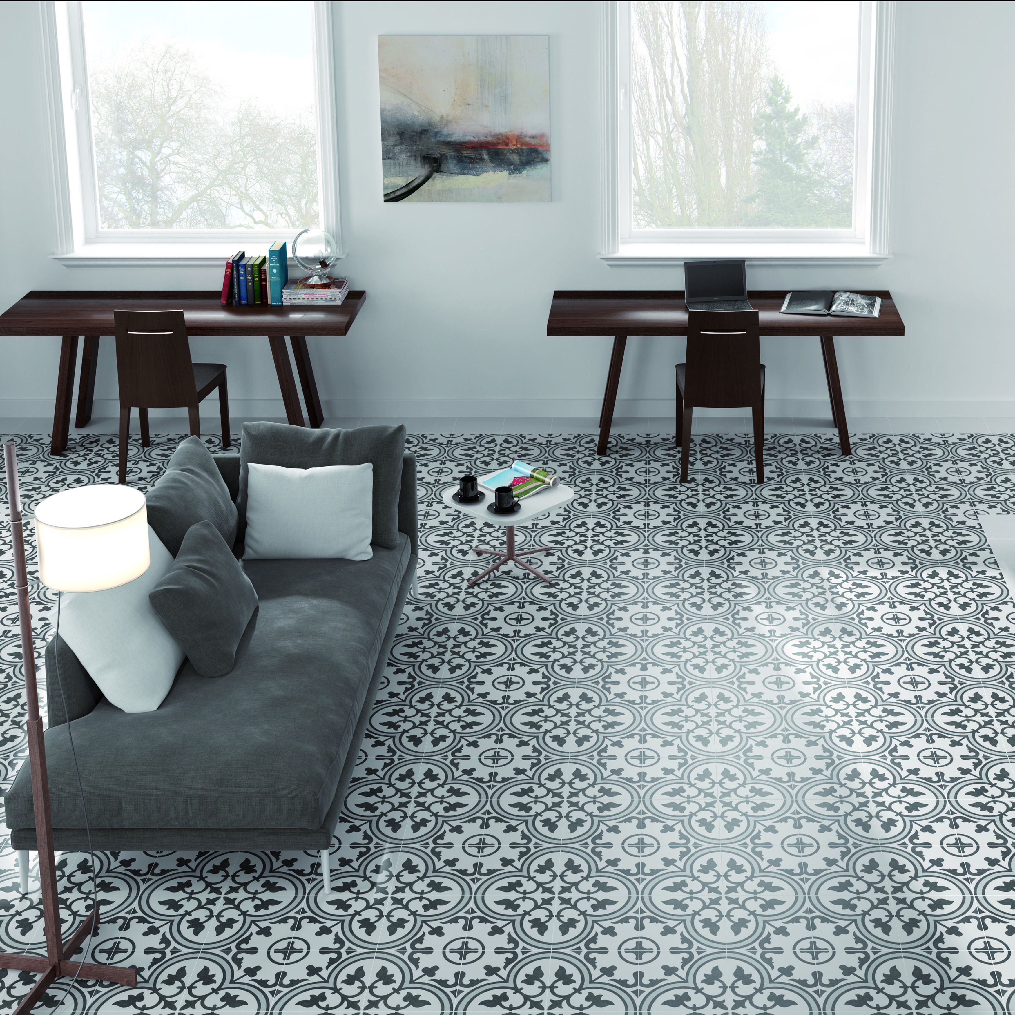 The SomerTile 9.5x9.5-inch Art Grey Porcelain Floor and Wall Tile ...