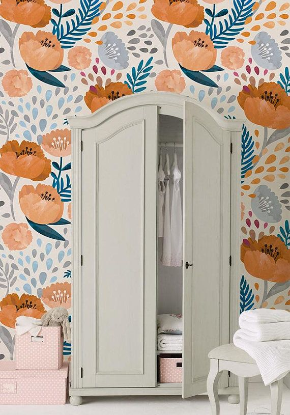 Orange Poppy Removable Wallpaper Wall covering Peel