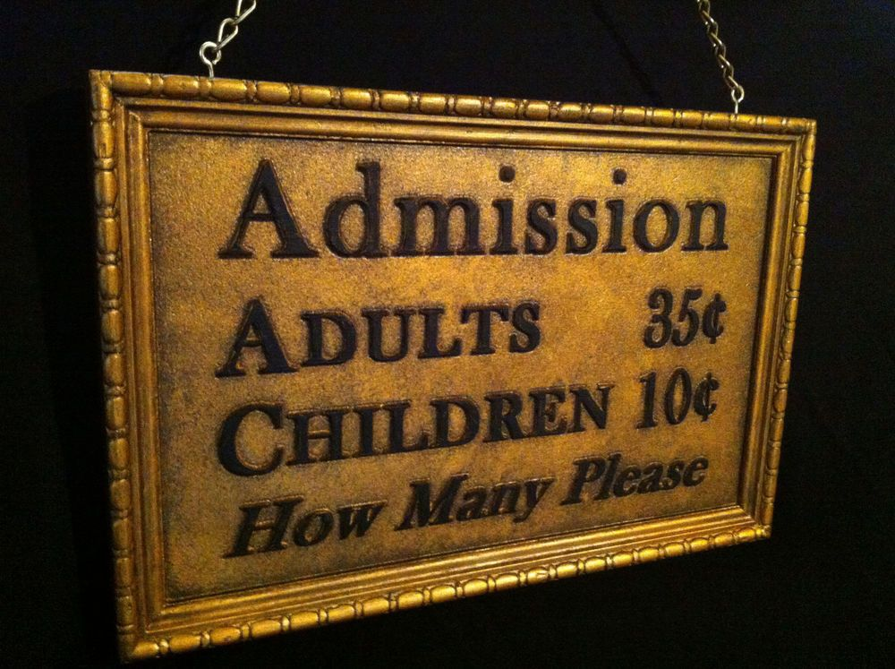 Antique style art deco ticket admission sign box office