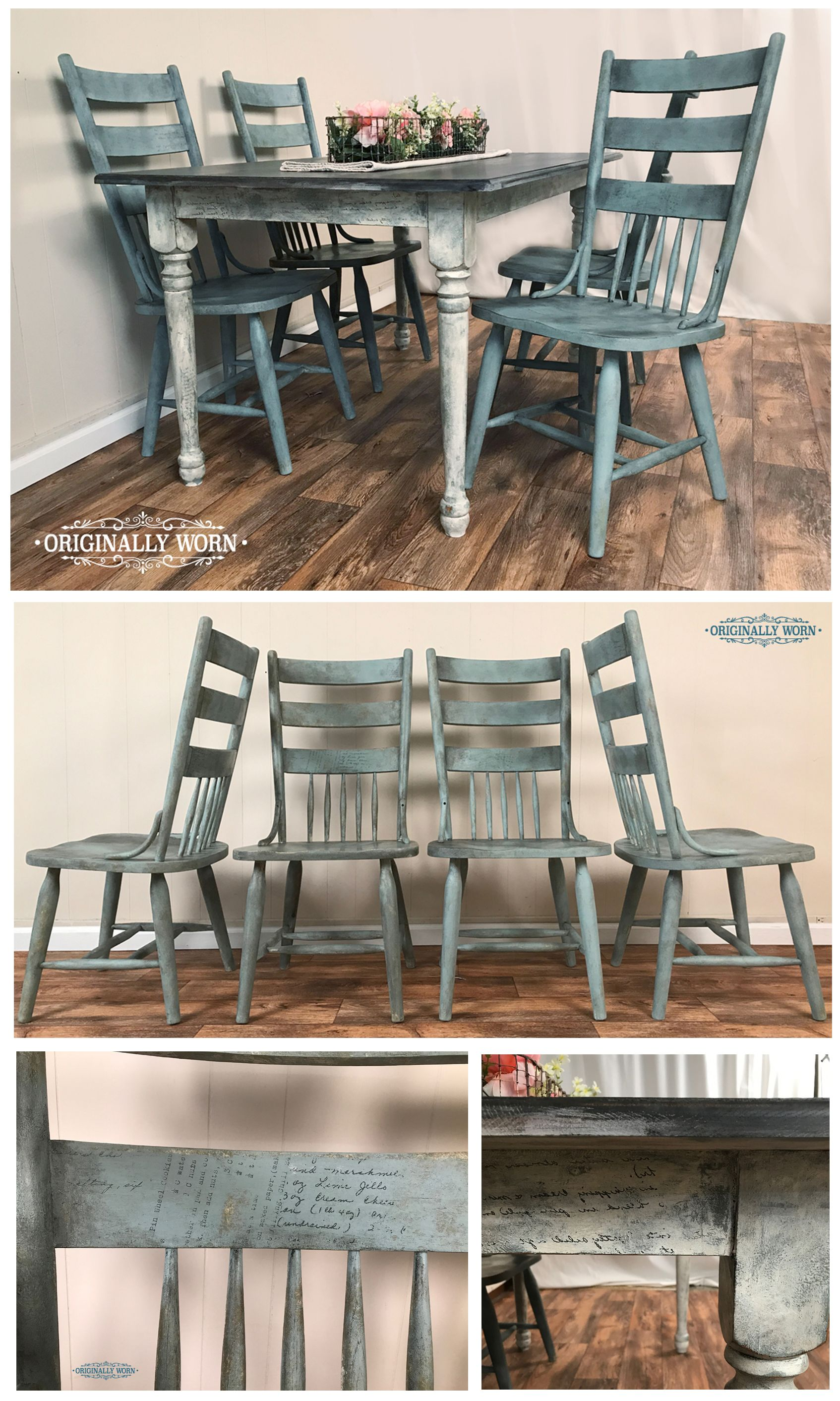 Dining Table And Chairs Done In Chalk Paint By Annie Sloan In Old White Chateau Grey Duc Painted Kitchen Tables Chalk Paint Kitchen Table Kitchen Table Redo