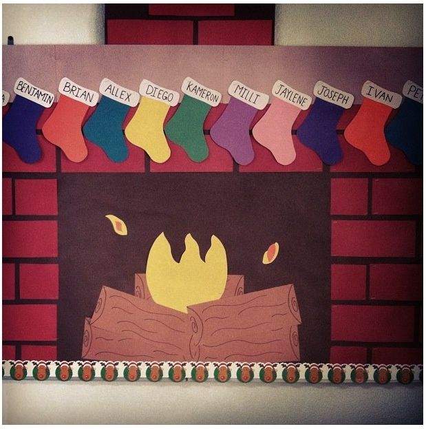 christmas fireplace bulletin board