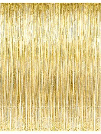 Metallic Gold Foil Fringe Curtains 1 Pc By Kangaroo Party