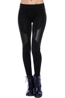 5a40f94e0741e PU Leather Spliced Skinny Black Leggings | clothing & such | Fashion ...