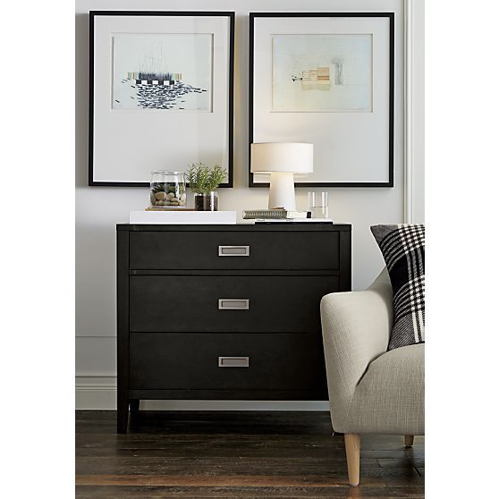 Arch Charcoal Three Drawer Chest Three Drawer Chest Dressers