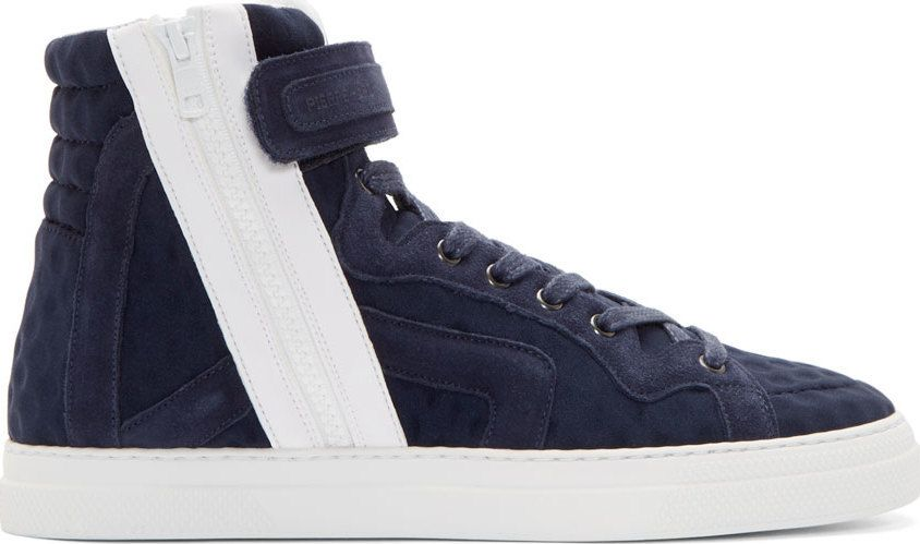 Pierre Hardy Navy & White Suede Trim High-Tops