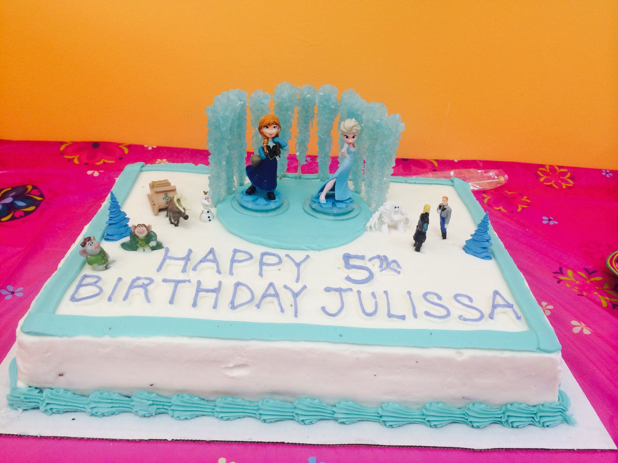Frozen theme sheet cake (costco + figurines = ridiculously