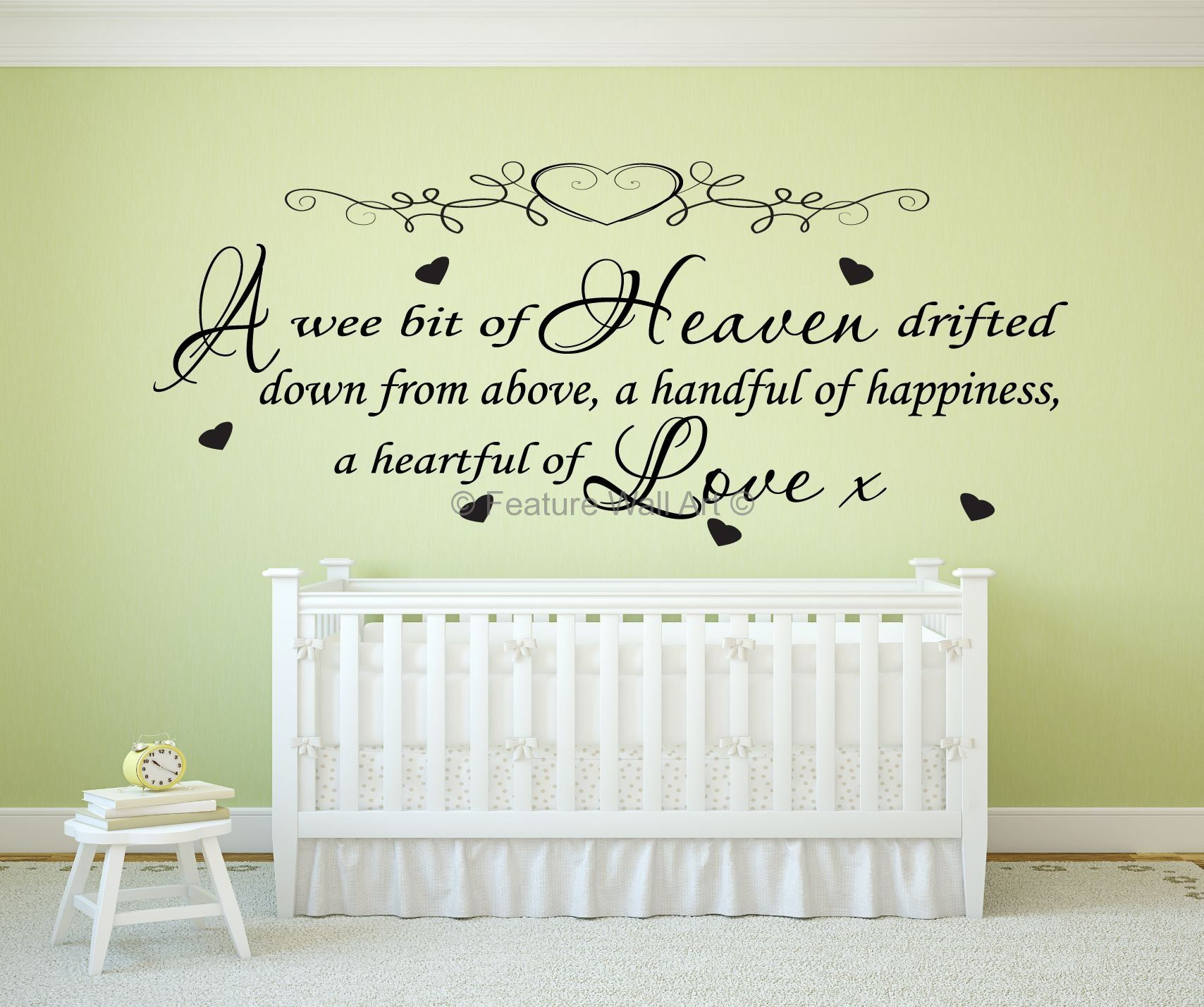 wall sticker decal art | Wee Bit Of Heaven... Quote - Nursery Vinyl ...