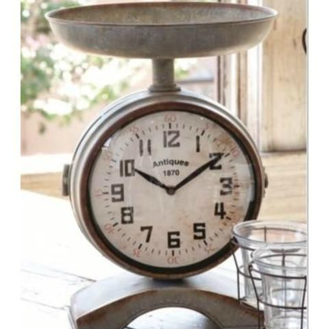 Vintage Inspired Antique Style Kitchen Scale with Clock