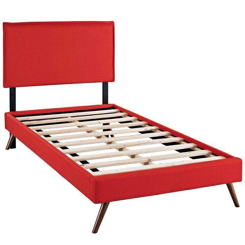 Best Modway Camille Round Splayed Leg Platform Bed Atomic Red 400 x 300