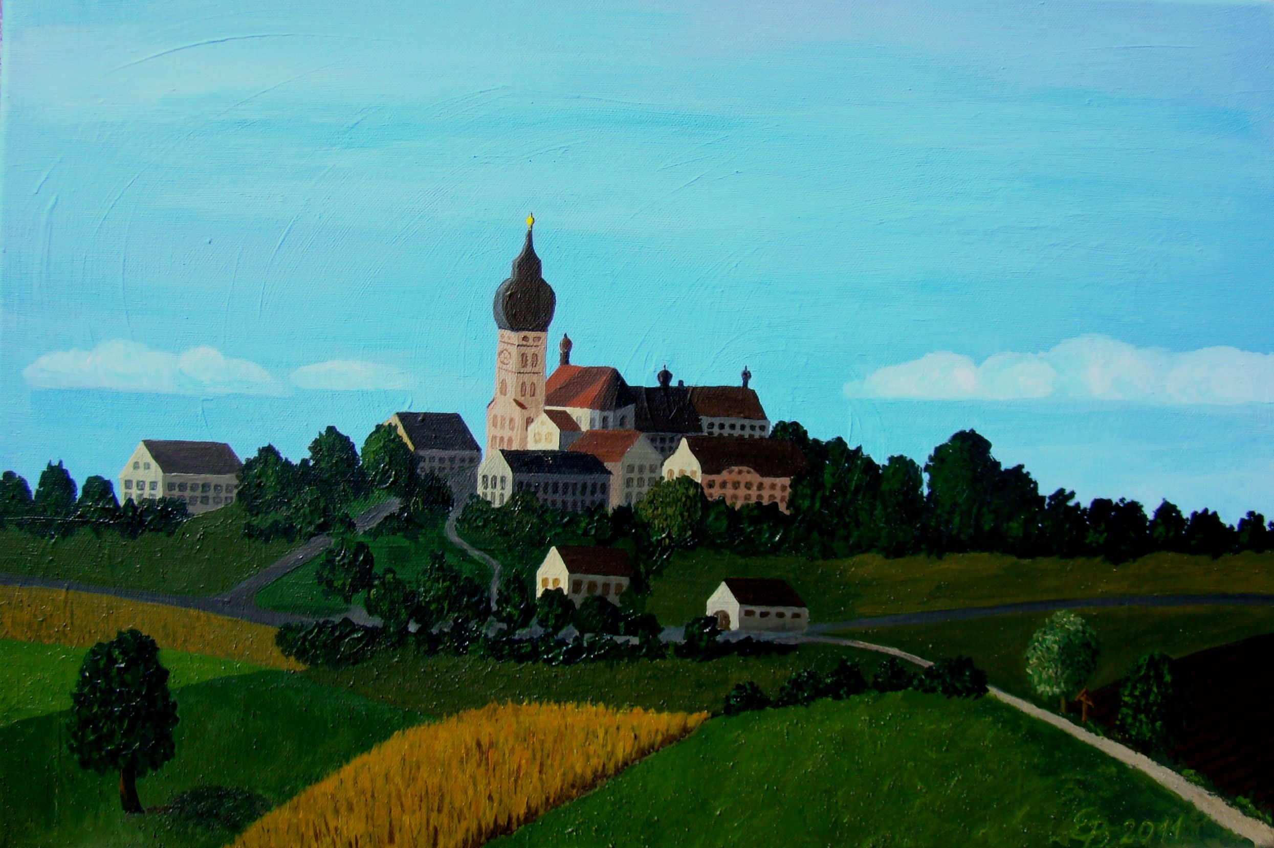 """Kloster Andechs"" 2011, Acryl, 40 x 60 naive Malerei"