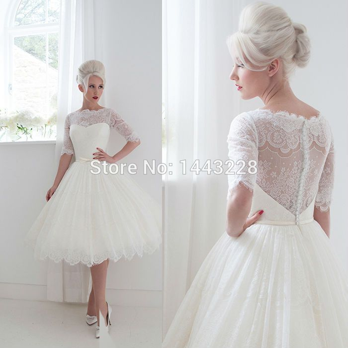 Find More Wedding Dresses Information About Ball Gown Illusion Neckline Half Sleeve Sheer Backless Lace Tea