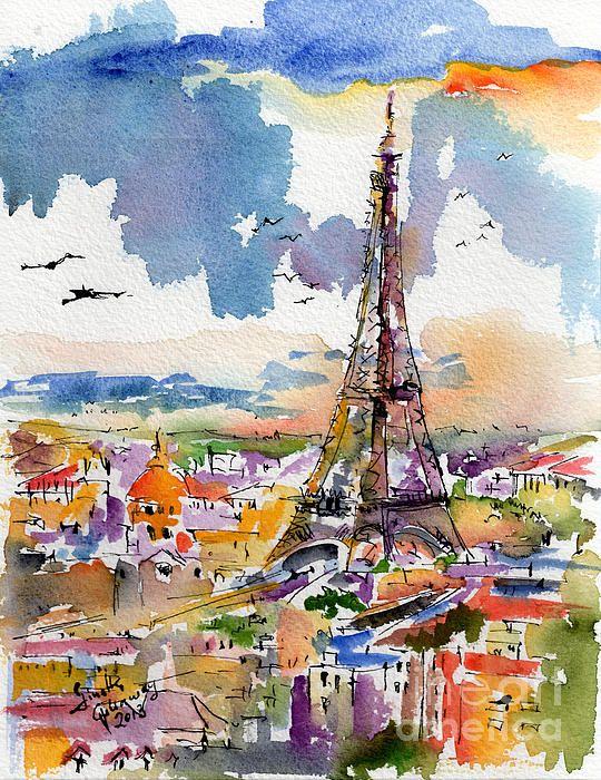 Paris Eiffel Tower Watercolor Croquis Urbain Peinture A L Eau
