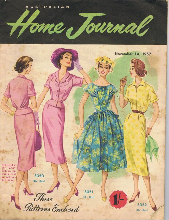 Australian Home Journal November 1957 Vintage Magazine Sewing
