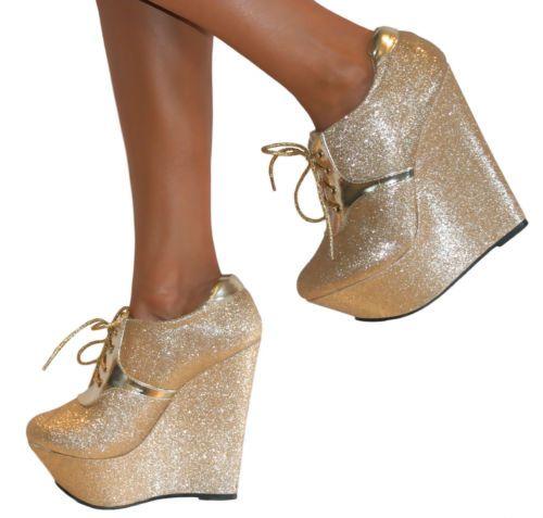 b49cbdd4cc048 Details about Women's Glitter Back Lace Up Wedge High Heel Platform ...