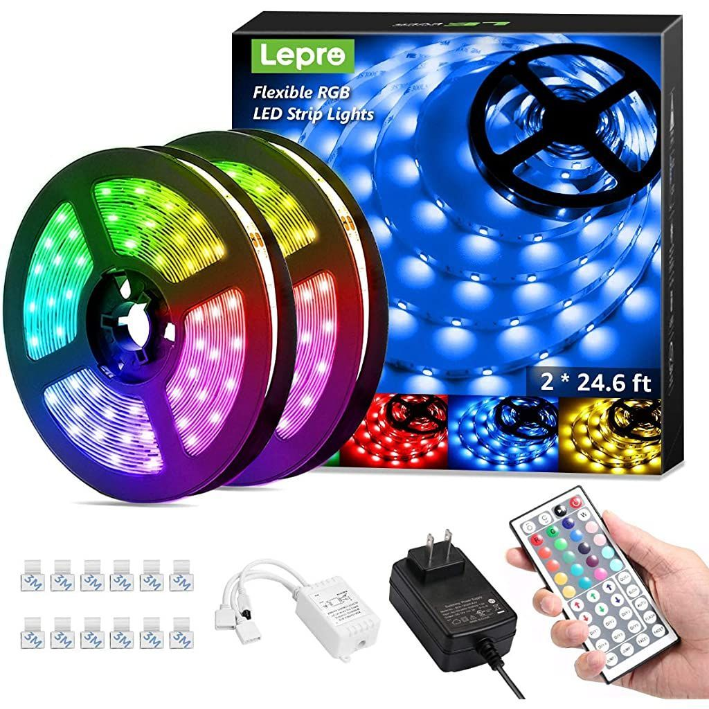 50ft Led Strip Lights Ultra Long Rgb 5050 Led Strips With Remote Controller And Fixing Clips Color Changing Tape Light With 12v Etl Liste