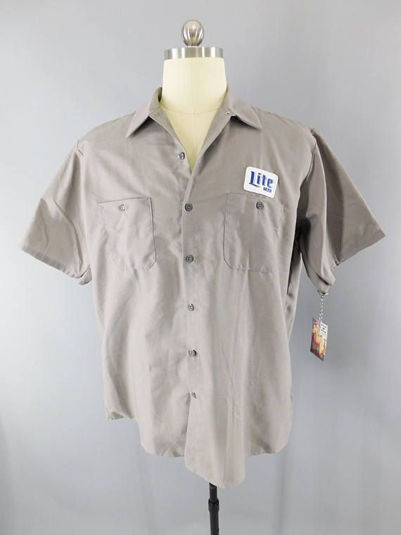 b87cc877 Miller Beer / Delivery Man / Gray XL Short Sleeve / Work Shirt / Lite Beer  / Beer Patch / Patches / Miller Lite #DeliveryMan #BeerDelivery  #MillerHighLife ...