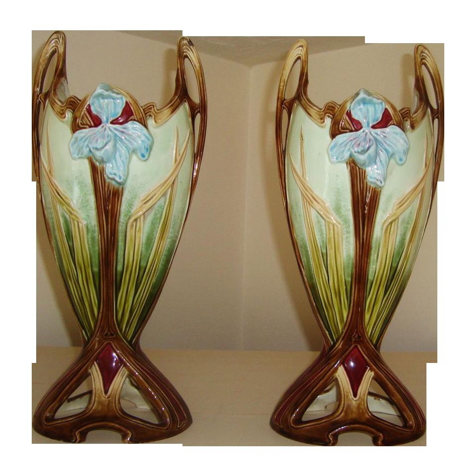 Bien connu Pair of Antique French Faience Art Nouveau Iris Vases Majolica  QY56