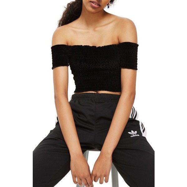 cb952ac6718 Women's Topshop Smocked Velvet Off The Shoulder Crop Top (€38) ❤ liked on Polyvore  featuring tops, black, off the shoulder tops, off-shoulder crop tops, ...