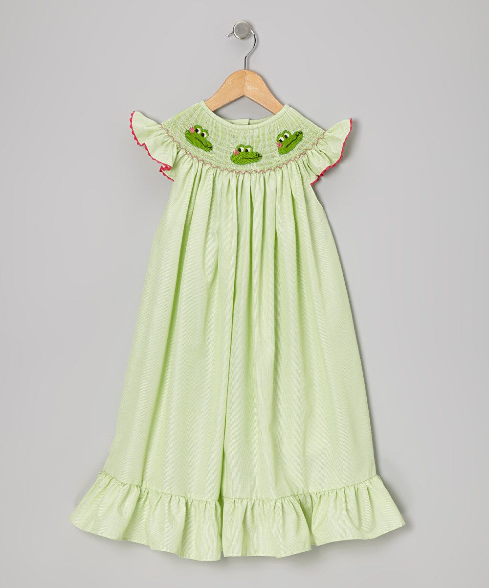 Take a look at this rufflegirl green stripe awesome alligator dress