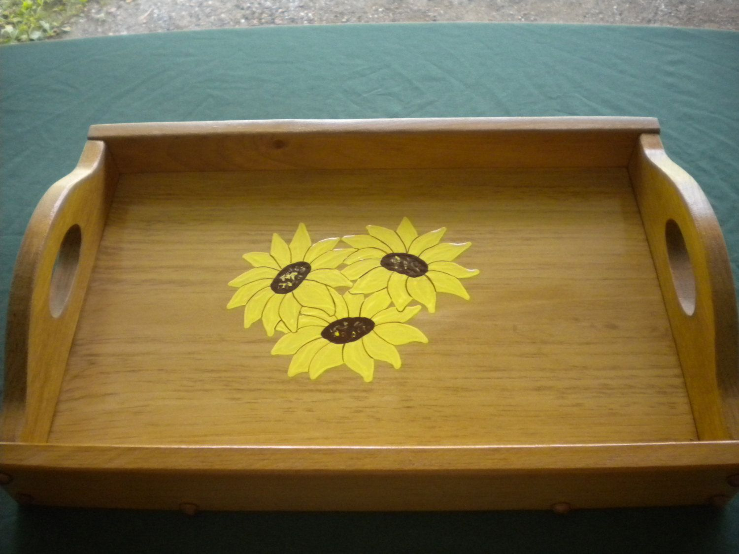 Uncategorized Handmade Wooden Trays large serving tray with a painting of sunflowers handmade wooden by woodnthingsny12534 on etsy