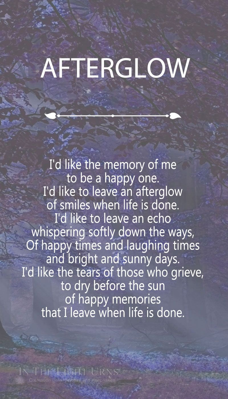 Afterglow Funeral poems