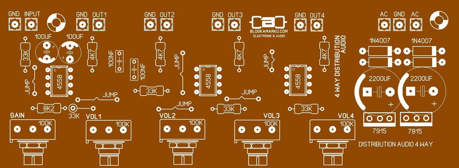 Layout Pcb Audio Distributor 4 Way Komplit Amplificador