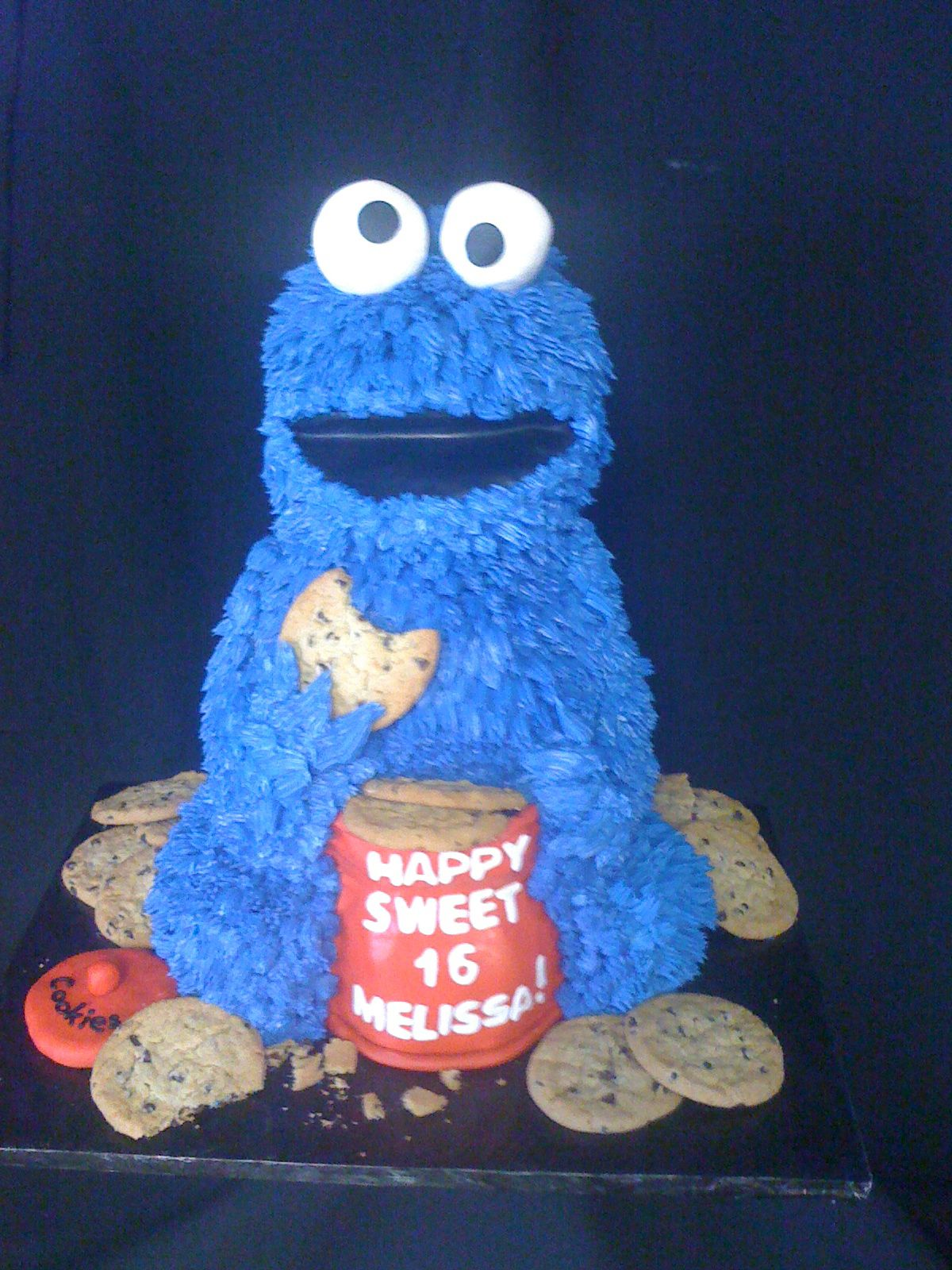 Custom Cookie Monster butter creme and chocolate flavor with peanut