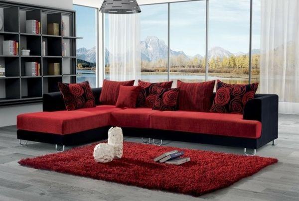 Canapé De Salon Rouge Et Noir