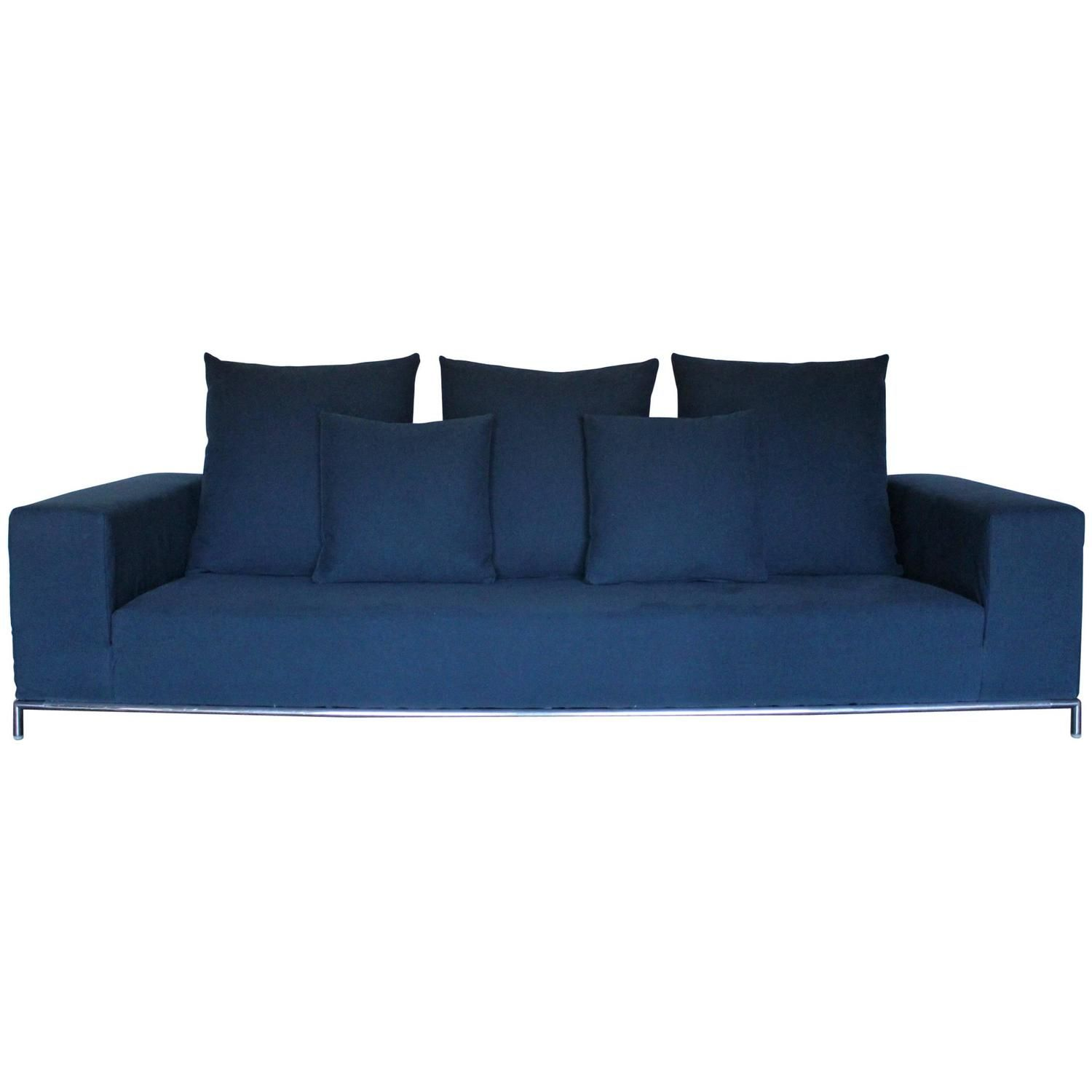 B B Italia George Four Seat Sofa In Mid Blue Linen Fabric By