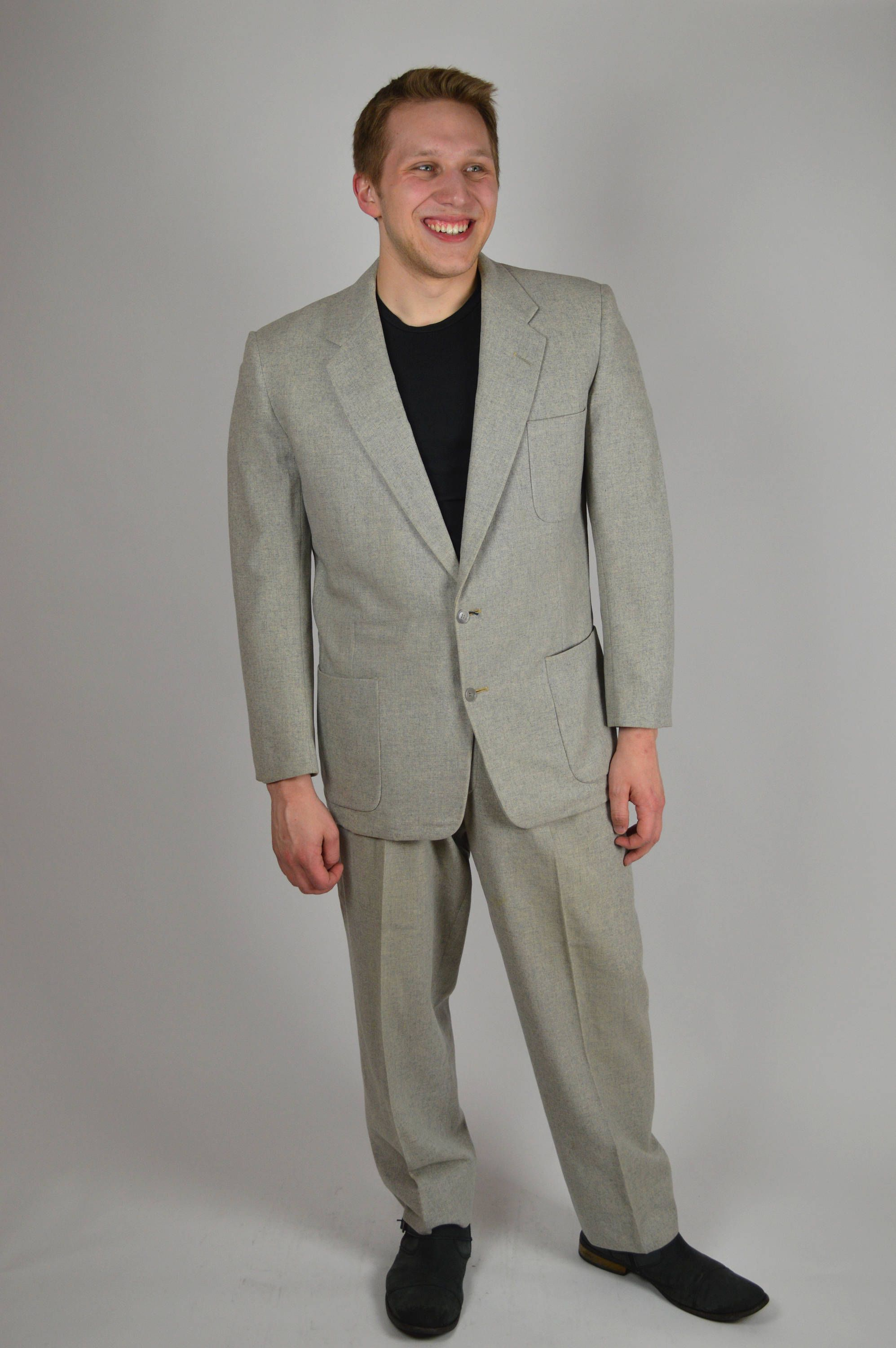 Vintage Suit 50s Gray Flecked 1950s