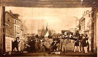Una scena de Le Cinque giornate di Milano. Personaggi: Gerolamo servo del Realmaresciallo Radetzky, i milanesi insorti