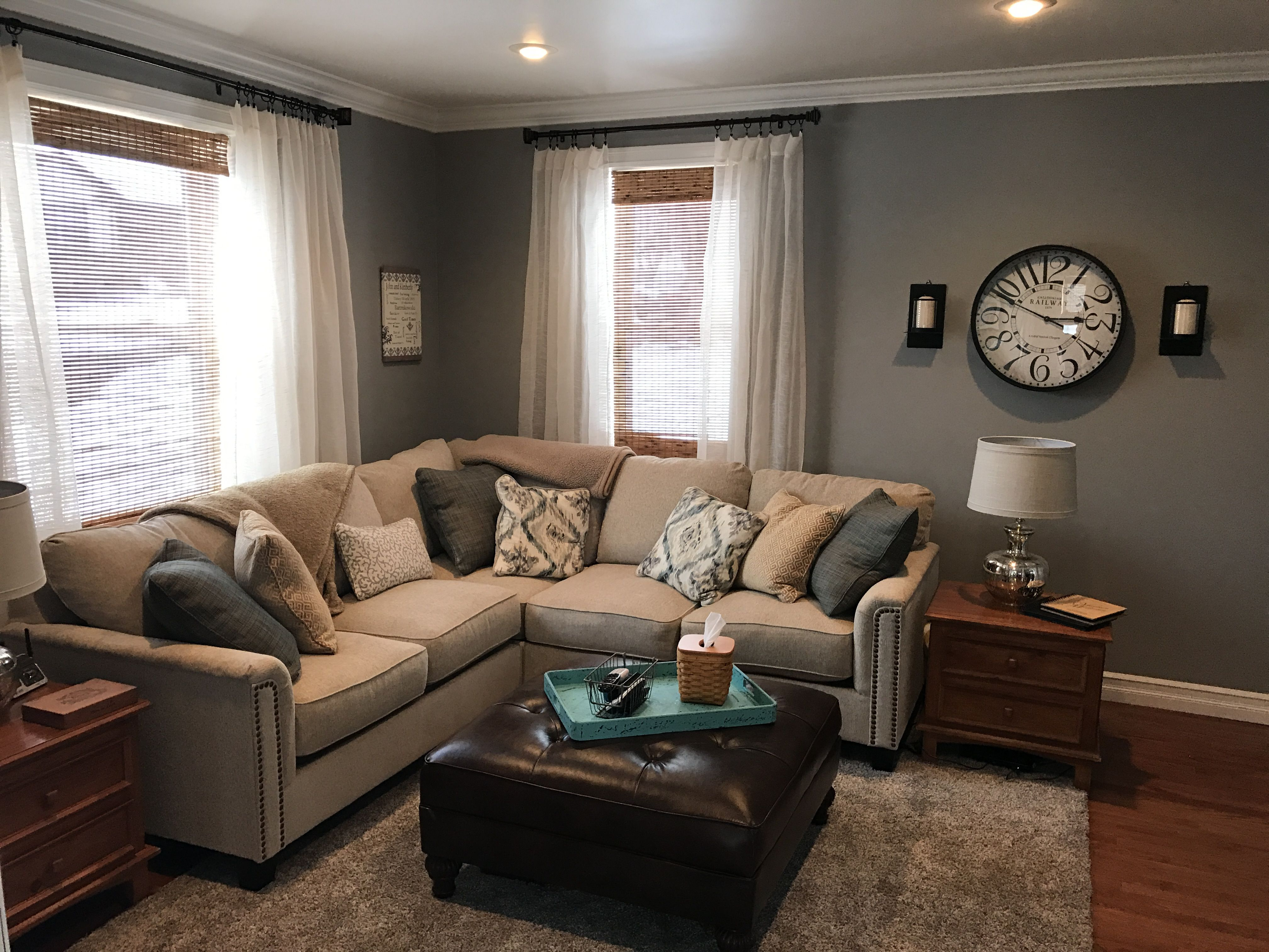 Behr Downtown Gray, cream couch