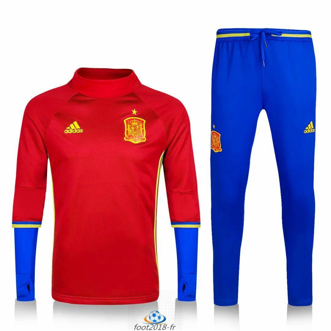 Official Le Nouveau Survetement de foot Espagne Rouge Bleu