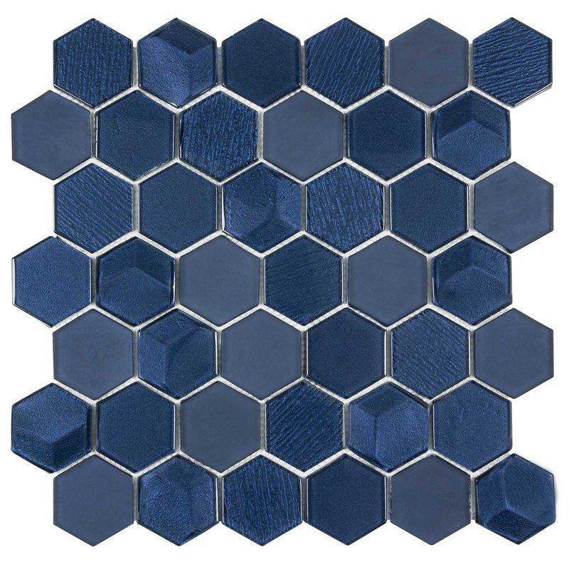 Hexagon 2 X 2 Glass Mosaic Tile In Glossy Blue Bold Glass