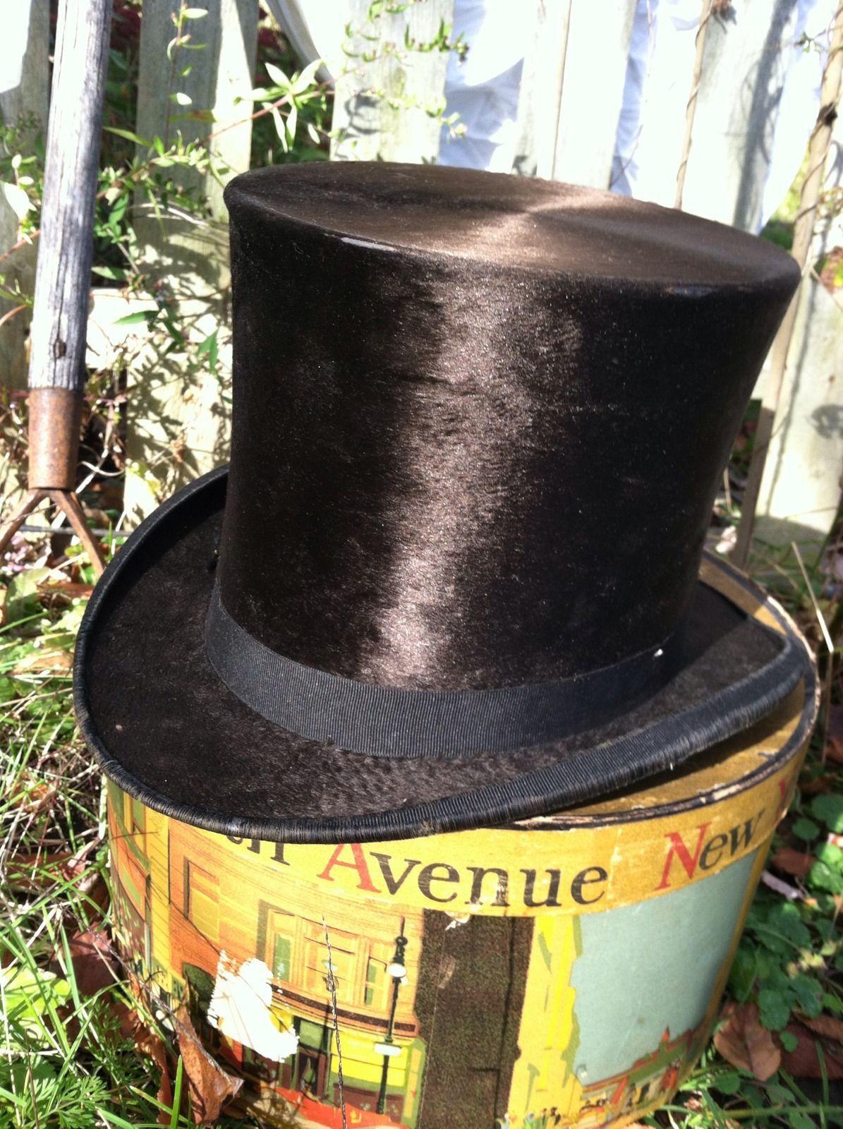 68fa4afa4df0c Antique Victorian Beaver Fur Black Top Hat Silk Dunlap Co Dobbs NY Hat Box  RARE